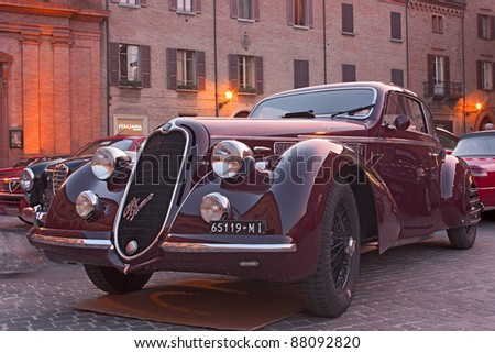 """IMOLA (BO) ITALY - OCTOBER 8: An Italian car Alfa Romeo on display during the meeting of old cars and motorcycle """"Luigi Musso Historic Gran Prix""""  on October 8, 2011 in Imola (BO) Italy - stock photo"""