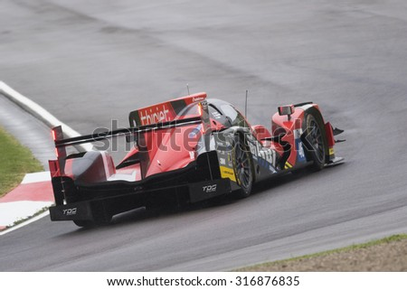 Imola, Italy May 16, 2015: Oreca 05 Nissan of Thiriet By Tds Racing Team, driven by Pierre Thiriet - Ludovic Badey - Tristan Gommendy in action during the European Le Mans Series - 4 Hours of Imola