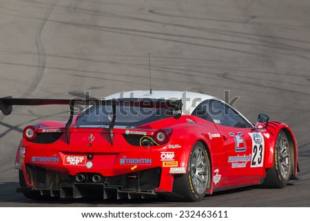 Imola, Italy - October 11, 2014: A Ferrari 458 Italia Gt3 of Malucelli team, driven By Galassi Marco (Smr) and Trentin Mauro (Ita),  the C.I. Gran Turismo car racing on October 11, 2014 in Imola