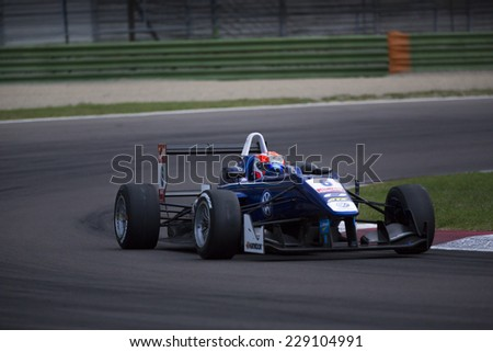 Imola, Italy - October 11, 2014: Dallara F312 - Volkswagen of Carlin Team, driven by Jones Edward (Are)  in action during the Fia Formula 3 European Championship - stock photo