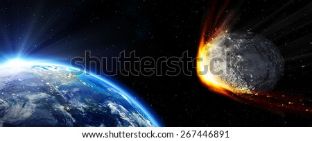 Impact Earth - meteor in route collision: Elements are furnished by NASA - stock photo