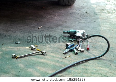 impact wrench old and dirty. - stock photo