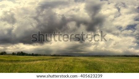 impending squall with rain, impending hurricane, impending rain,Prairie Storm, the storm is coming, approaching storm, thunderstorm, tornado, mesocyclone, climate - stock photo