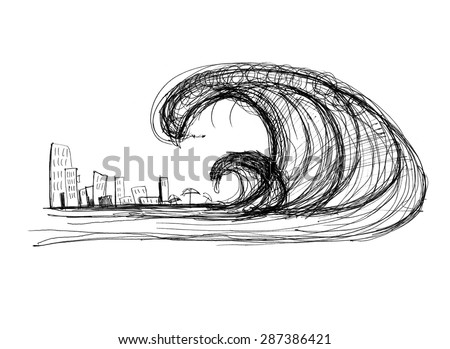 impending tsunami of the city, black and white drawing