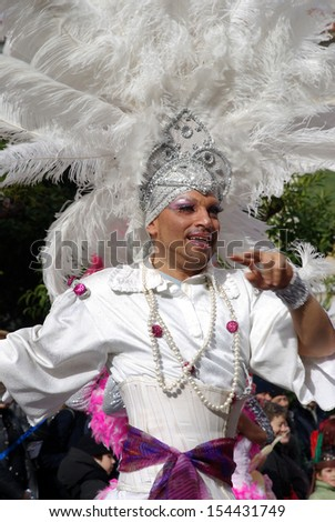 IMPERIA, ITALY - FEBRUARY 21: An unidentified man performing dance in the parade at the annual traditional carnival of Imperia in Italy on February 21, 2010.
