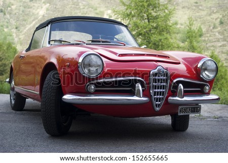 IMPERIA, ITALY - MAY 14: Alfa Romeo Giulietta Spider parked in a street in Imperia, Italy on May 14, 2011. - stock photo