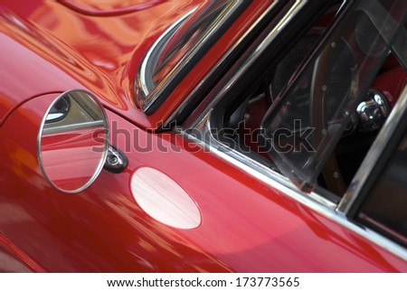 IMPERIA, ITALY - OCTOBER 19: Closeup detail of a classic car parked in a street in Imperia, Italy on October 19, 2013. - stock photo