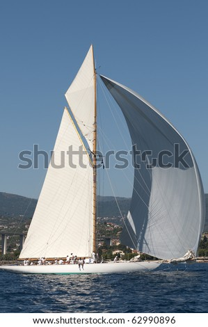 IMPERIA, ITALY - SEPTEMBER 11: Ancient sailing boats before a regatta in the Panerai Classic Yachts Challenge which took place in Imperia, Italy, 11 September 2010