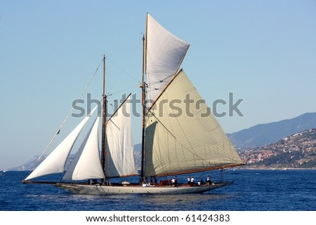 IMPERIA, ITALY - SEPTEMBER 11: Ancient sailing boats during a regatta in the Panerai Classic Yachts Challenge which took place in Imperia, Italy, from 8 to 12 September 2010 - stock photo