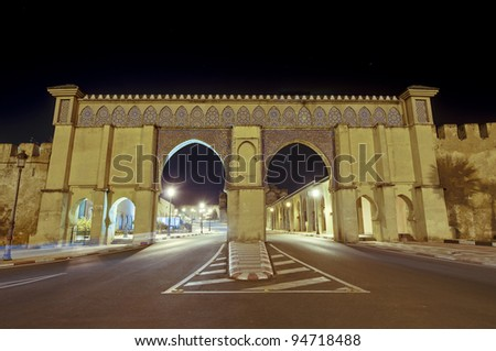 Imperial City main entrance door at Meknes, Morocco