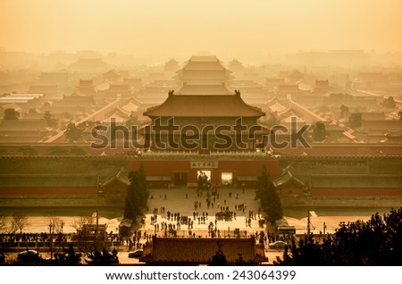 Imperial palace in Beijing view from above. China. - stock photo