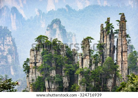Imperial Pen Peak of Zhangjiajie. Located in Wulingyuan Scenic and Historic Interest Area which was designated a UNESCO World Heritage Site as well as an AAAAA scenic area in china. - stock photo