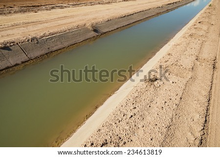 Imperial Valley irrigation canal with concrete lining - stock photo
