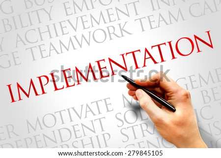 Implementation word cloud, business concept - stock photo