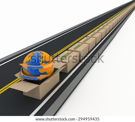 Import and export arrow around earth and stream of cardboard boxes on road. Concept of buying goods worldwide. 3d illustration on white background - stock photo