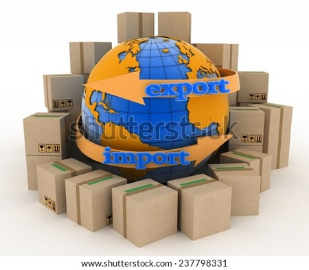 Import and export arrow around earth for business. Concept of buying goods worldwide. 3d illustration on white background  - stock photo