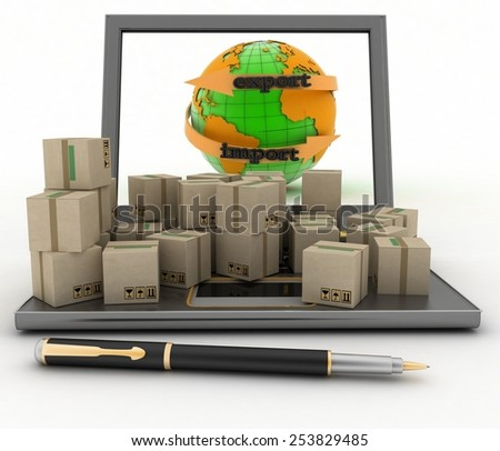 Import and export arrow around earth for business. Concept of online goods orders worldwide. 3d illustration on white background - stock photo