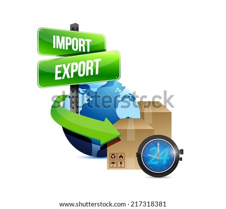 import and export globe and box and watch illustration design over a white background - stock photo