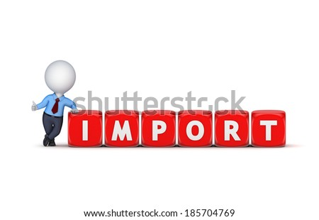 Import concept.Isolated on white.3d rendered.