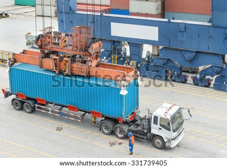 Import, Export, Logistics concept - Container Cargo freight ship with working crane loading bridge in shipyard at dusk for Logistic Import Export background - stock photo