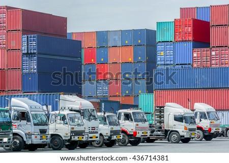 Import, Export, Logistics concept - Truck in container depot use for truck import, export, logistics background - stock photo