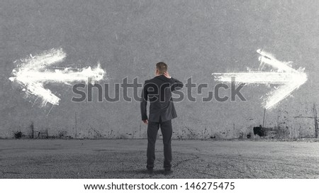 Important and difficult choices of a businessman - stock photo
