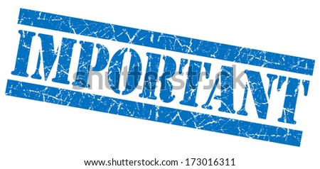 Important grunge blue stamp - stock photo