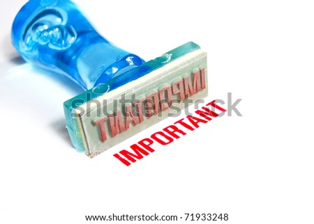 important letter on blue rubber stamp isolated on white background - stock photo
