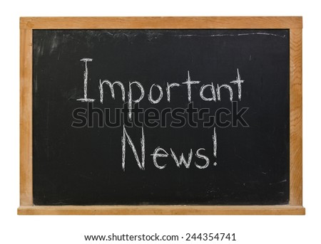 Important news written in white chalk on a black wood framed chalkboard isolated on white - stock photo