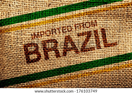 Imported from Brazil printed on Jute canvas texture, natural coffee sack texture. - stock photo