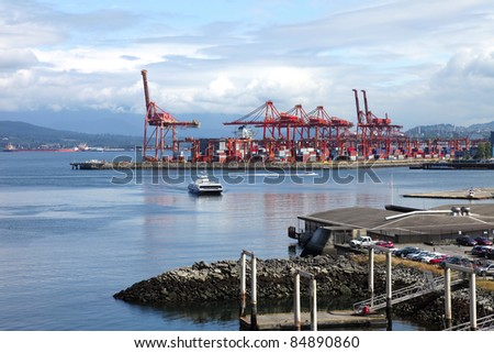 Imports & exports port of Vancouver BC Canada. - stock photo