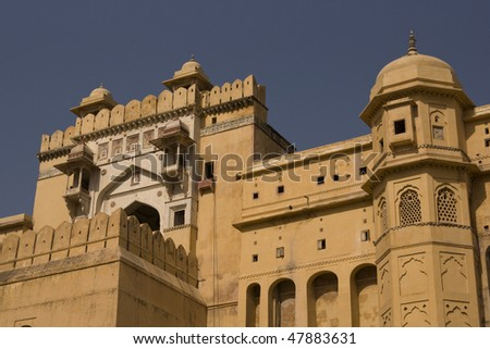 Imposing entrance to Amber Fort. Large Rajput style building on the outskirts of Jaipur, Rajasthan, India