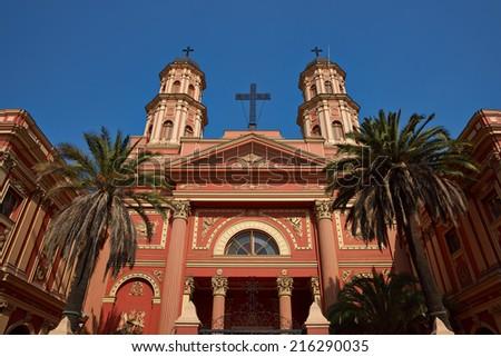 Imposing entrance to the church of the Congregacion Preciosa Sangre in Barrio Brasil, Santiago, Chile - stock photo