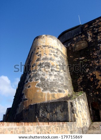Imposing fortified wall of Historic El Morrow fort in San Juan, Puerto Rico - stock photo