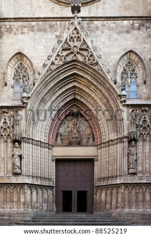 Imposing medieval gothic entrance of Santa Maria del Mar Cathedral,Barcelona