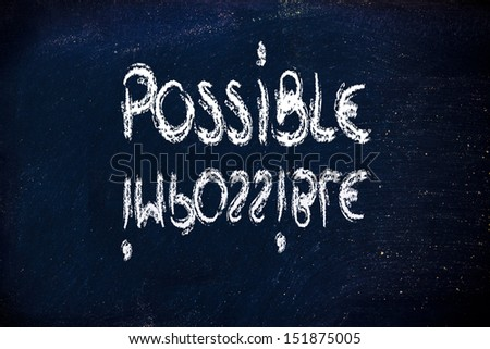 impossible becomes possible, writing on blackboard - stock photo