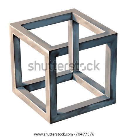 Impossible Cube, abstract Object, Symbol - stock photo