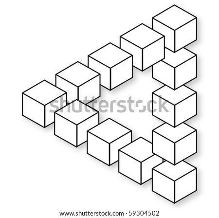Impossible triangle blocks, isolated and empty for creative image montage - stock photo