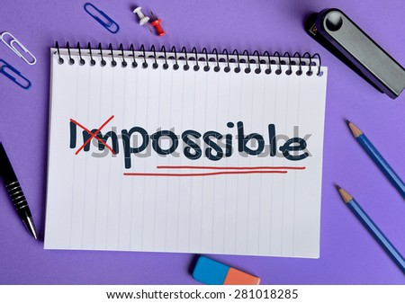 Impossible word on notebook page - stock photo