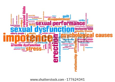 Impotence and sexual dysfunction concepts word cloud illustration. Word collage concept. - stock photo