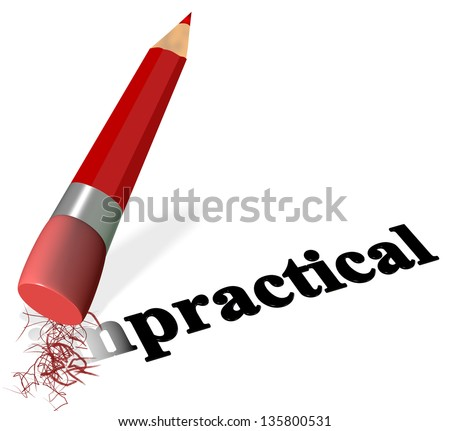 impractical pencil pens erasers quench practical - stock photo