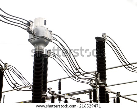 Impression network at transformer station in  high voltage  - stock photo