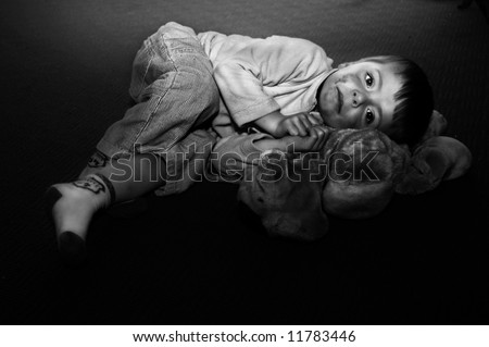 Impression of an abused child. - stock photo