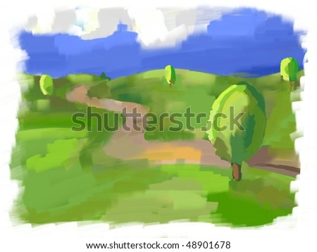 impressionism bright sunshine landscape - stock photo