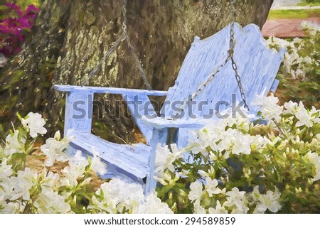 Impressionist art of a relaxing wooden blue swing with azaleas in the Southern USA - stock photo