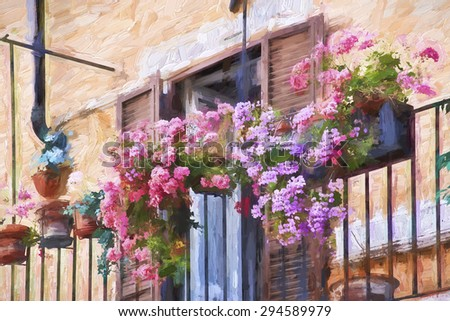 Impressionist art of flowers decorating the balcony of a home in Rome Italy