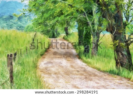 Impressionist art of the early morning along Sparks Lane  A gravel road leading throught Cades Cove in the Great Smoky Mountains National Park,  Tennessee, United States - stock photo