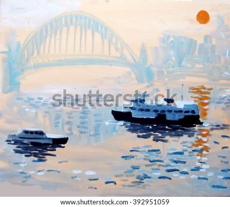 Impressionist painting of Sydney harbor, boats, ferries and bridge background at dusk - stock photo