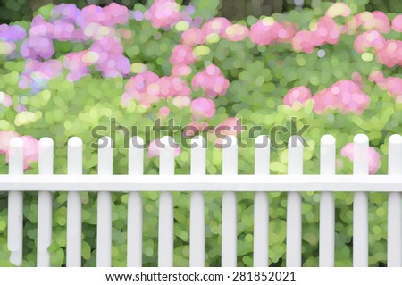 Impressionistic abstract of white picket fence by bushes with green leaves and pink chrysanthemums in front yard garden, summer in New England