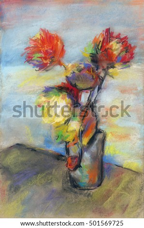 Impressionistic bouquet of flowers. Flowers in a vase painting. Still life. Impressionistic fine art, pastel crayons on cardboard.